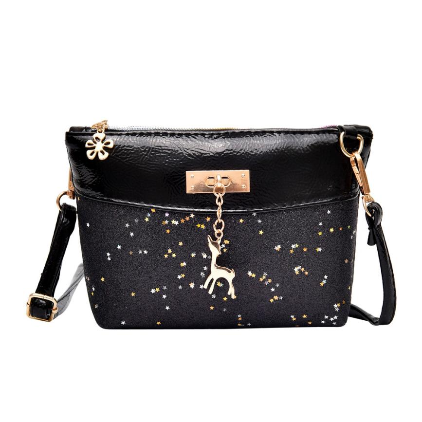 New Arrival Fashion Women Girl Bling Sequins Flap Bags Ladies Pretty Deer Zipper Crossbody Shoulder Bags 2018 bolsa feminina S
