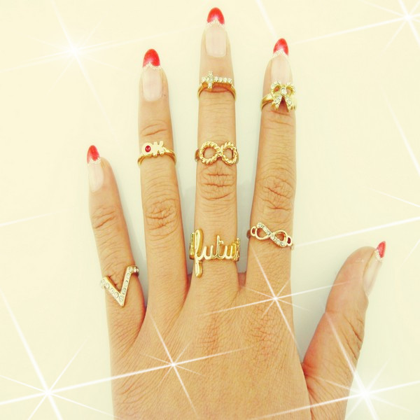 7Pcs/Lot 'V' 'OK' Infinity Eternity Love Forever Bow Ribbon Knot Cross Top of Finger Over The Midi Tip Above Knuckle Band Ring