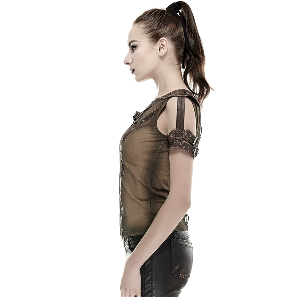 Kaki Mince Bandage Tops shirt Vieux Ne Steampunk Femmes Noir Coton Armure D'épaule Casual Tee T pwwP6n1O