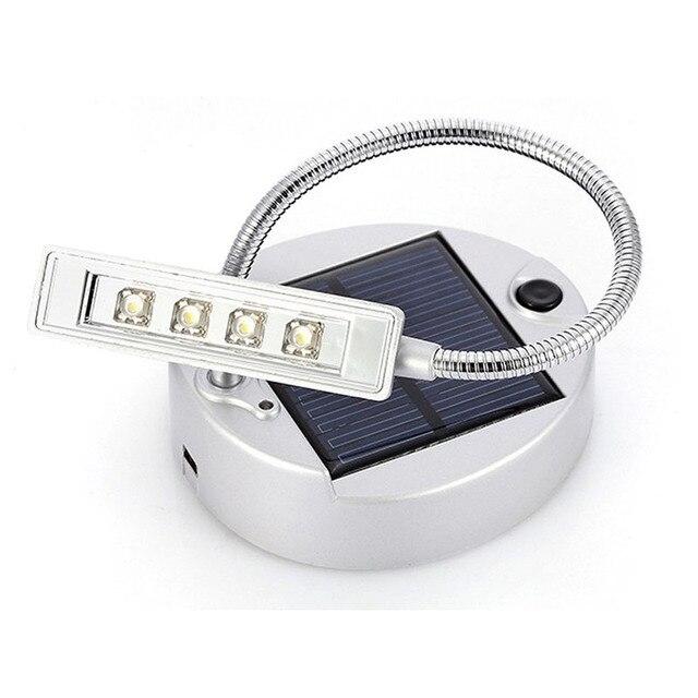 Solar Powered Flexible 4 LED Desktop USB Book Lamp Reading Light Rechargeable Green Energy Eye-Care Table Lamp Night Desk Lamp