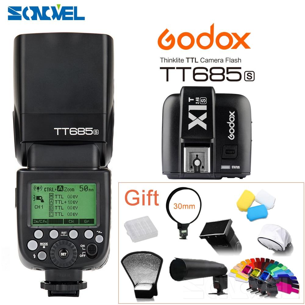 Godox TT685S 2.4G HSS TTL GN60 Flash Speedlite+X1T-S Transmitter for Sony A58 A7RII A7II A99 A7R A7SII A6500 A6300 A6100 A6000 godox v860iic v860iin v860iis x1t c x1t n x1t s hss 1 8000s gn60 ttl flash speedlite 2 4g transmission godox softbox filter