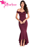NEW ARRIVAL 2015 Vestidos De Festa Sexy Navy Off Shoulder Mermaid Jersey Evening Dress Formal Party