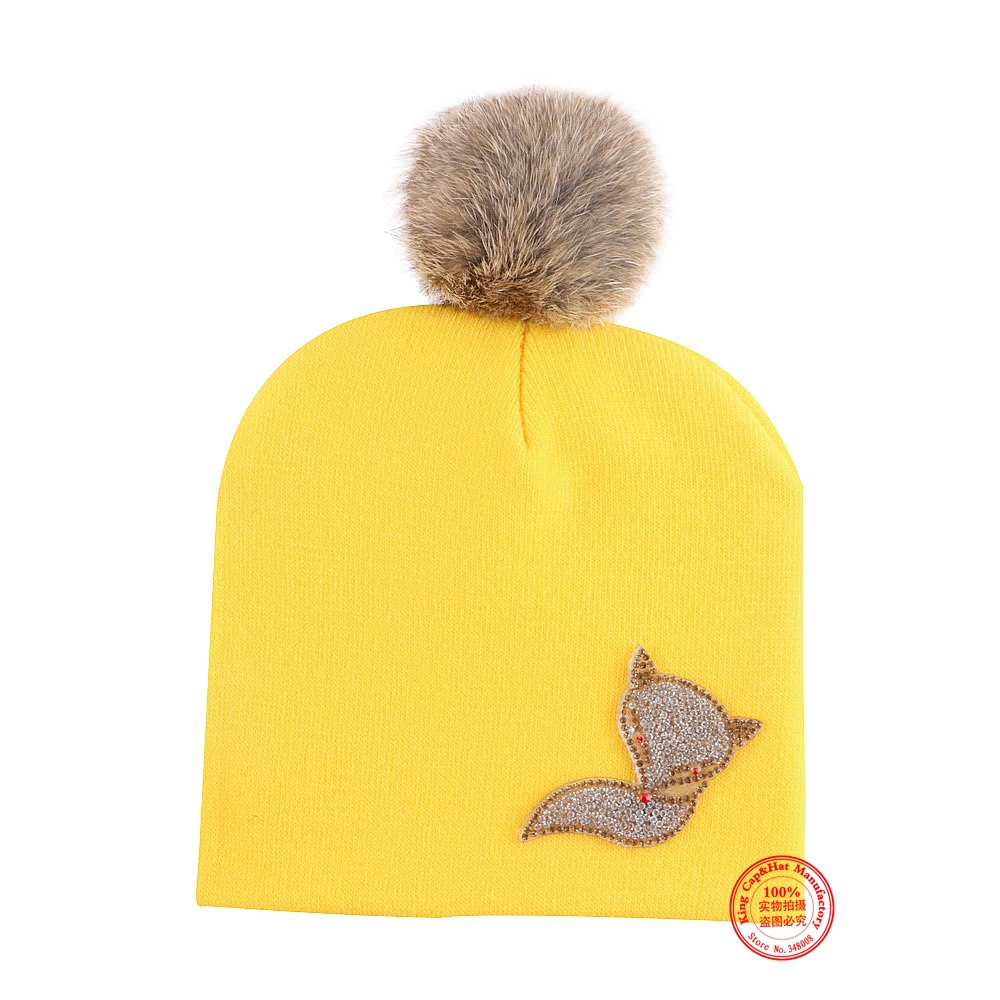 0-2 year old baby cute winter cap hat girl boy real animal fur ball cotton colorful thermal beanies children kids brand skullies