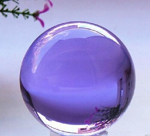100mm Purple Feng Shui Glass Crystal Ball Sphere Magic