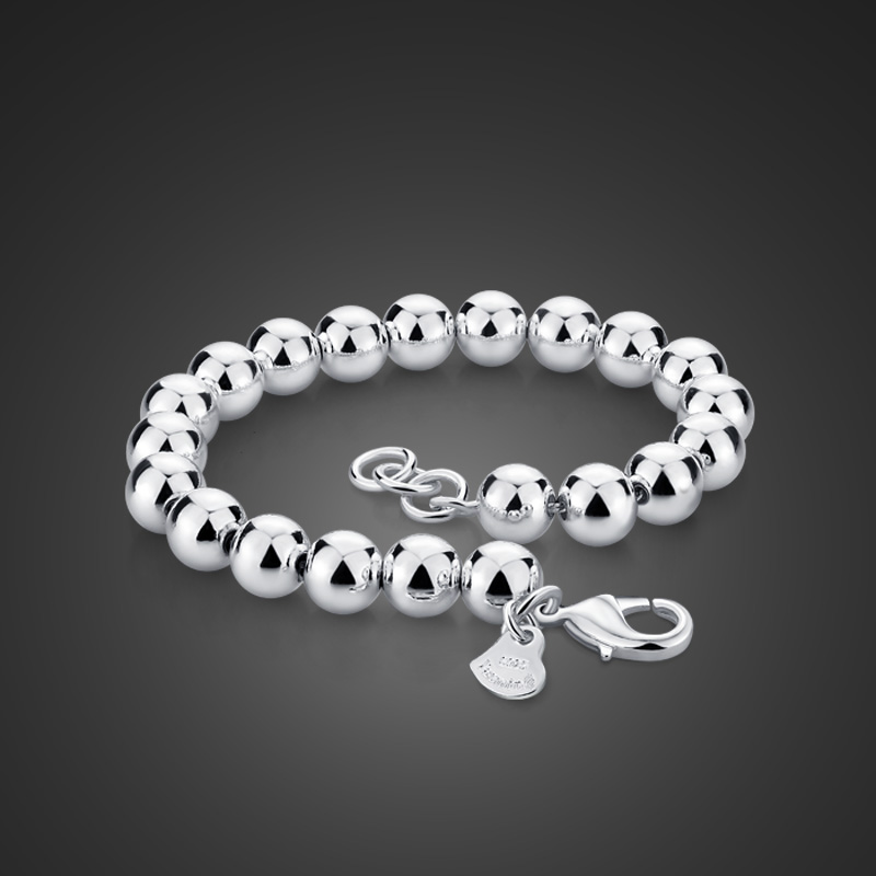 Fashion Woman Party Gift 8mm Hollow Bead Chain Sterling 925 Silver Bracelet BR04