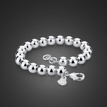 Fashion simple 925 sterling silver bracelet Solid design 100% silver bead jewelry gift Woman / man silver bracelet 6mm/8mm/10mm(China)