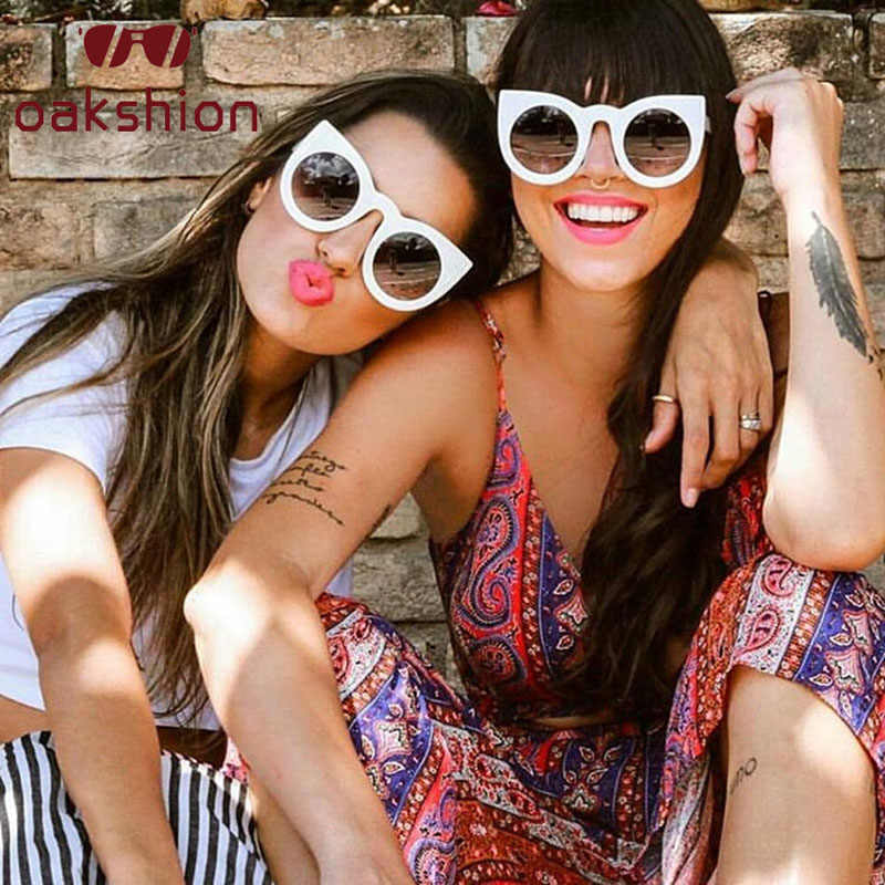 Mulheres Do Desenhador Do Vintage Óculos Oversized Óculos de sol Quadro Do Gato Olho Óculos de Sol Espelho Redondo Óculos de Sol Shades oculos de sol de Passarela 2018