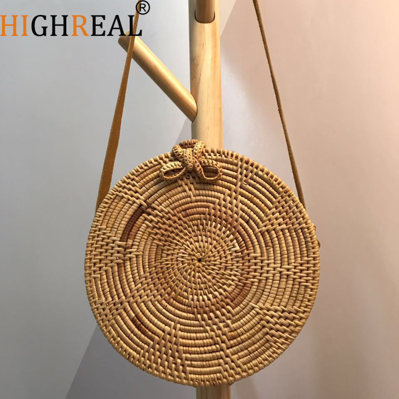 HIGHREAL Straw Bags Circle Rattan Bag Beach Bag Women Small Bohemian Bali Handbag Summer Handmade Crossbody leather shoulder fabric bags shoulder straw summer of women fabric crossbody bags canvas jute beach travel bag
