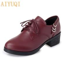 AIYUQI 2019 autumn new genuine leather women shoes, large size 41 42 43 fashion tie party shoes women, elegant dress