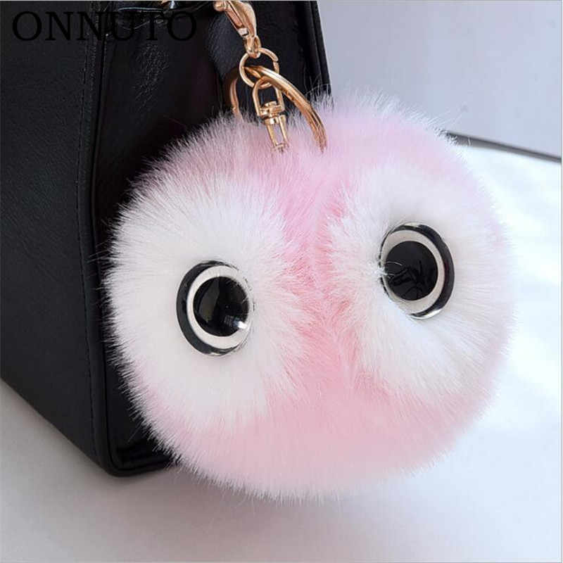 13CM Big Eyes Fluffy Rabbit Fur Ball Key Chain Cute Cartoon Panda Pompom  Keychain Women Car 6d241984be2ae