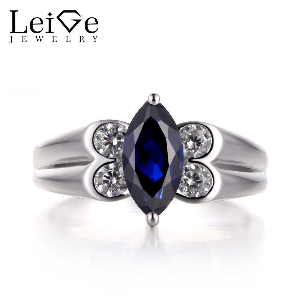 Leige Jewelry Blue Sapphire Ring Promise Ring Wedding Bands Marquise Cut Blue Gemstone Genuine 925 Sterling Silver Ring Gifts