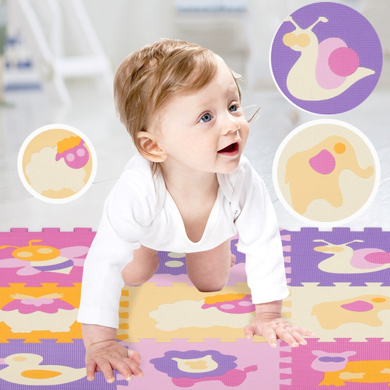 EVA Foam Animal Play Mat Kids Toy Moisture-proof Anti-slip Digital Kids Rug Stitching Puzzle Learning Toys For Children Baby Gym
