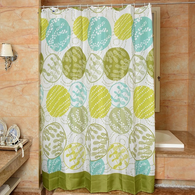 Pastoral Style Shower Curtain Green Waterproof Anti Mildew Bathroom With Hooks Fabric 3D Free Shipping