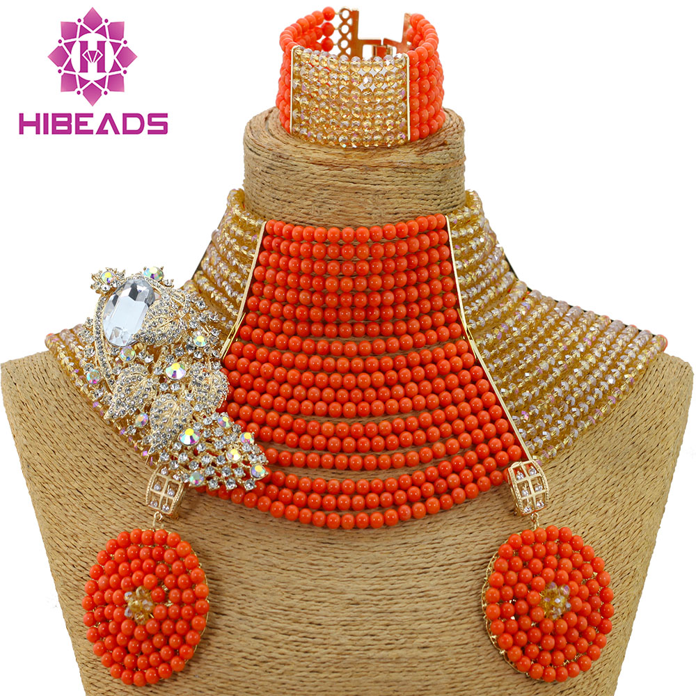 Luxury 18 Layers Choker Style African Wedding Coral Beads Costume Jewellery Set Champagne Gold Dubai Women Jewelry Set CNR519Luxury 18 Layers Choker Style African Wedding Coral Beads Costume Jewellery Set Champagne Gold Dubai Women Jewelry Set CNR519
