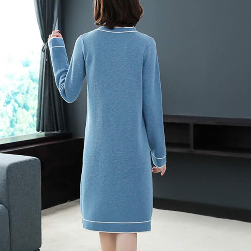 00761c362558 Di Slim Selvaggio Vestito Medio Delle Maglia Lungo Nuove Autunno Allentato  Inverno Modo Pullover Donne Blue Casual Abiti Del Ly454 Elegante ...