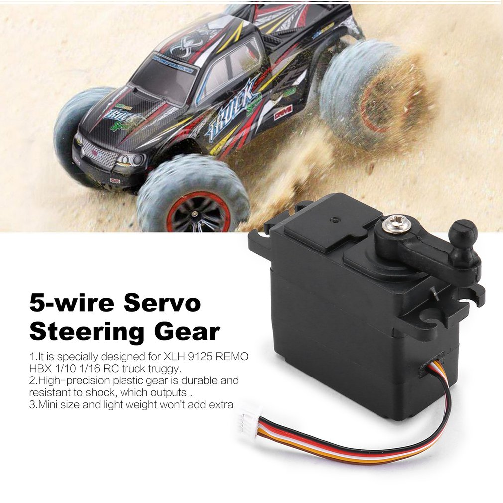 5-Wire Steering Analog Servo Gear Mount For XLH REMO HBX 1//10 1//16 RC Truck