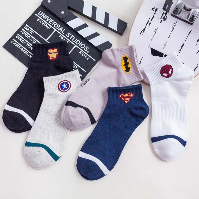 New Marvel Comics Heroes General   Socks   Cartoon Iron Man Captain America High Temperature Stitching Pattern Men's   Socks   S-8