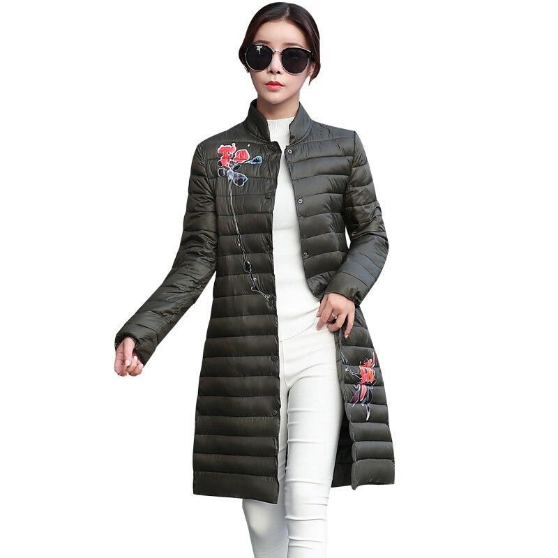 Nouvelle Mince Vers Le Bas Coton Veste D'hiver Femmes Long Manteau Vêtements pour Femmes Slim Imprimé Floral Plus La Taille Ultra Lumière Parkas Pardessus o581