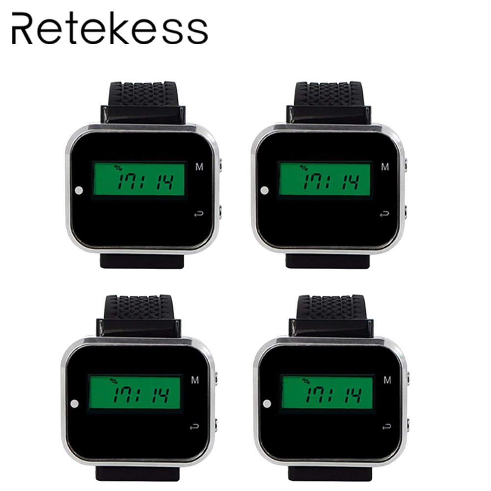 4pcs 433.92MHz Watch Receiver Call Pager Wireless Waiter Calling System for Restaurant Equipment Bank Factory F3300A4pcs 433.92MHz Watch Receiver Call Pager Wireless Waiter Calling System for Restaurant Equipment Bank Factory F3300A