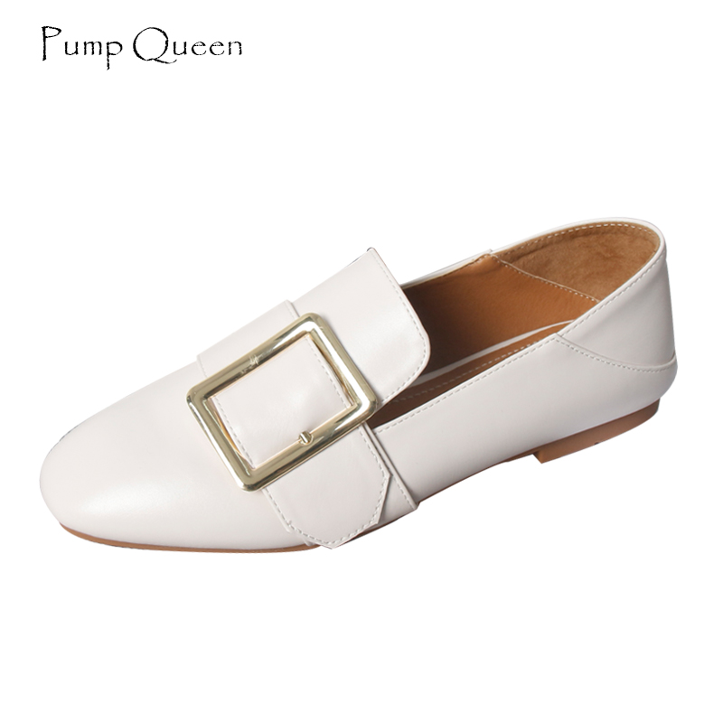 PumpQueen Casual Loafers Flats Shoes Women 2018 Sping Autumn Slip on Female Shoes Square Toe Moccasins Solid zapatos mujer 40 new shallow slip on women loafers flats round toe fishermen shoes female good leather lazy flat women casual shoes zapatos mujer