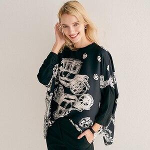 Image 3 - Bluz kadın üst artı boyutu basit tasarım 100% ipek yama Modal O boyun bırak omuz Modal kollu gevşek üst yeni moda
