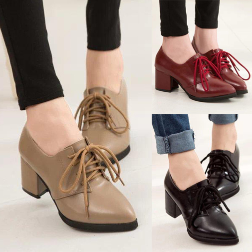 Women's Lace Up Chunky Heel Oxfords Shoes
