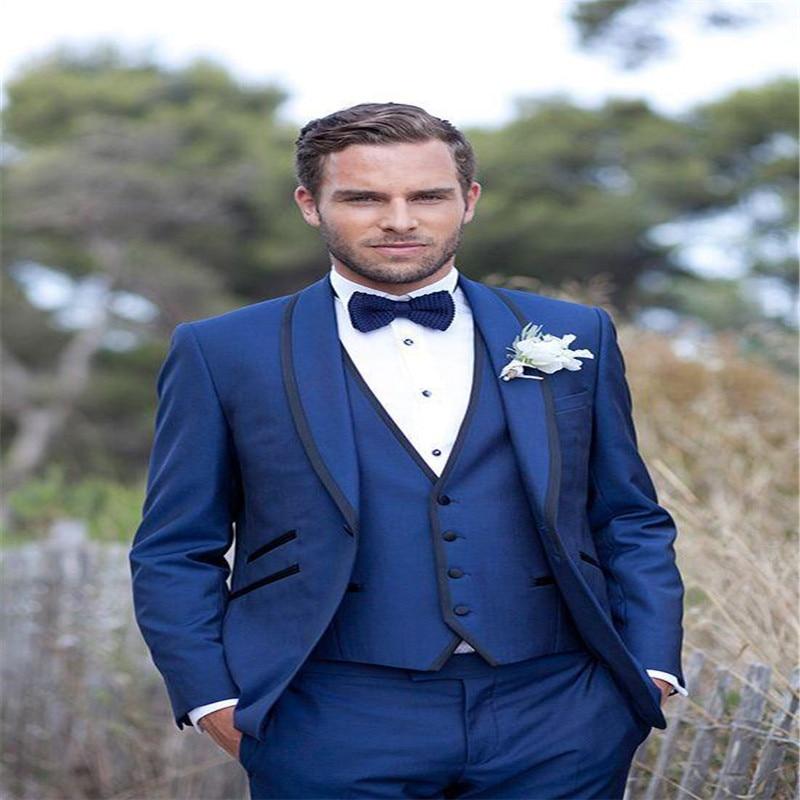 Designer Blue Men Wedding Planner Suits Slim Fit Bridegroom Tuxedos Groomsmen Suit Three Pieces Formal Business Jackets Pants Wi