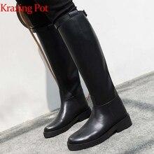 Krazing Pot Koe Lederen Hoge Kwaliteit Ronde Neus Rijden Paardensport Laarzen Rits Gesp Bandjes Beknopte Designer Dij Hoge Laarzen