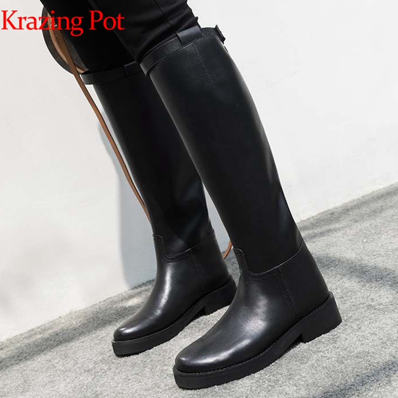 Krazing Pot hot sale high quality round toe riding equestrian boots zipper buckle straps concise designer thigh high boots L13
