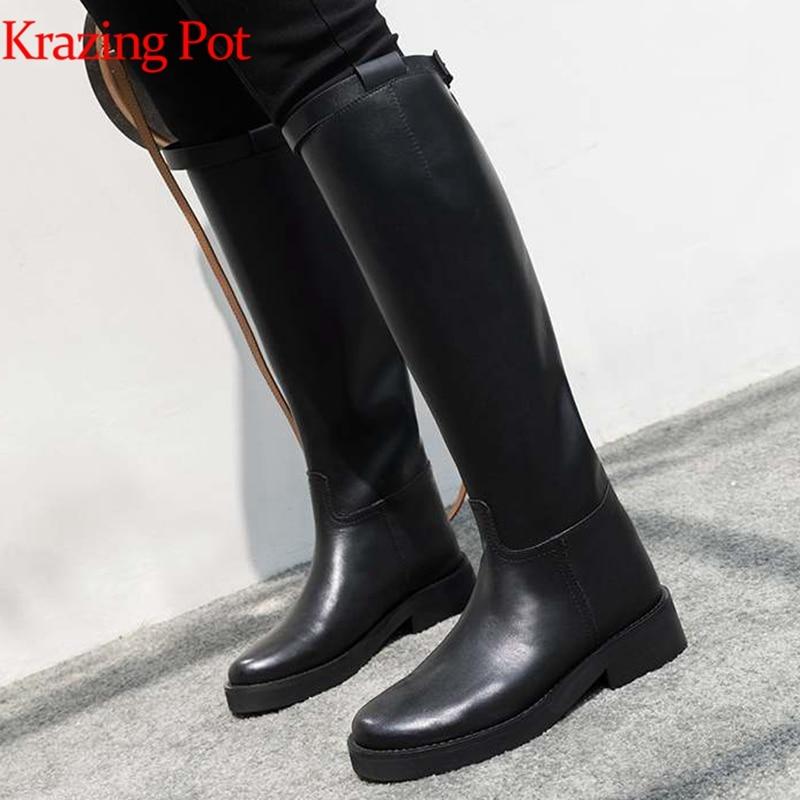 купить Krazing Pot hot sale high quality round toe riding equestrian boots zipper buckle straps concise designer thigh high boots L13 недорого