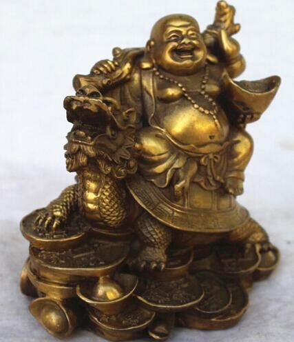 Sculpture de haute qualité, richesse en cuivre chinois Qian rit joyeusement de la Statue de tortue Dragon Maitreya livraison gratuite