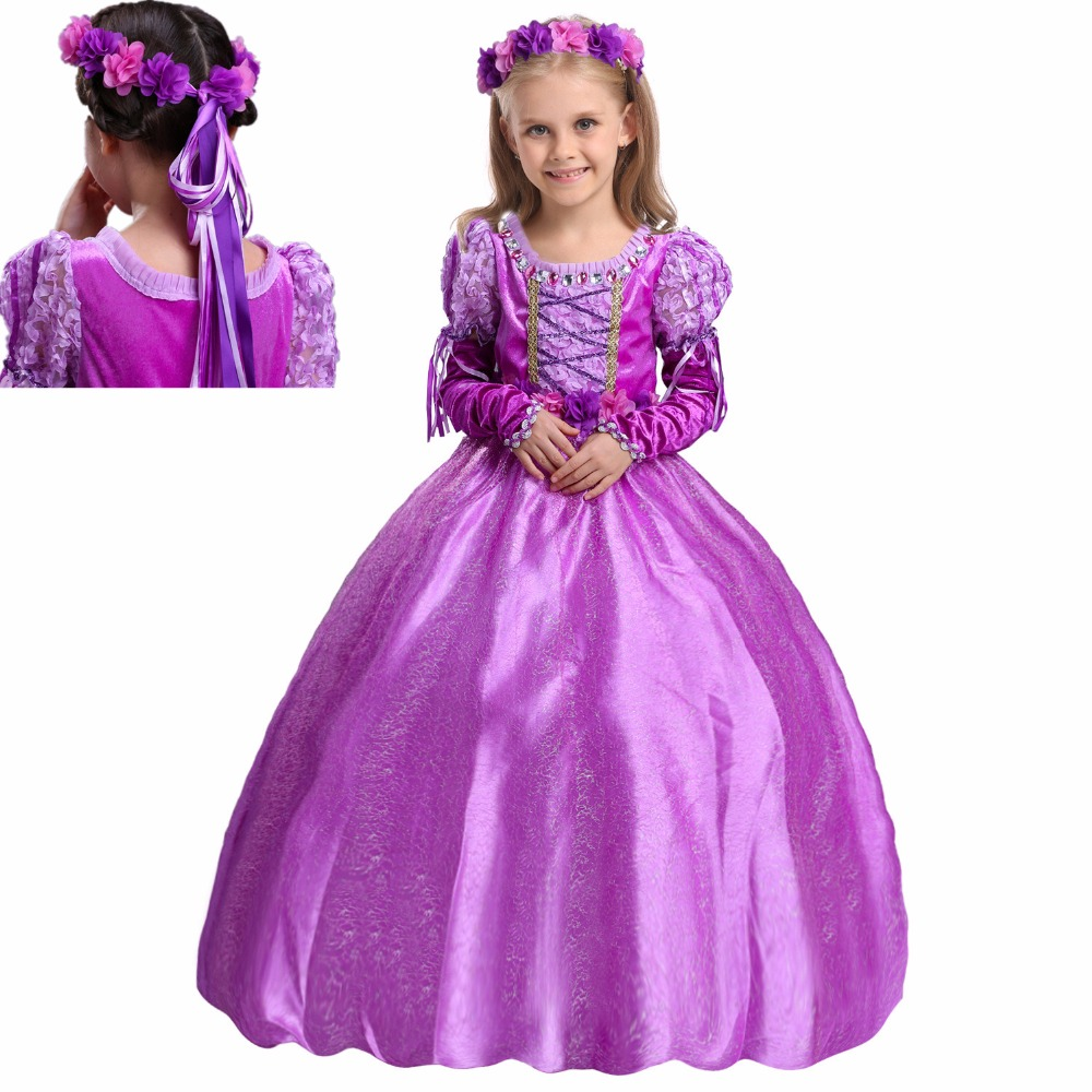 2017 Summer Children Clothes Sophia Rapunzel Princess Dress Kids Cosplay Costume Masquerade Ball Gowns dress for kids Xmas Gifts