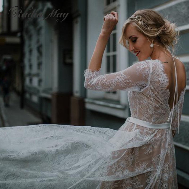 Vintage Champagne Lace Backless Beach Boho Wedding Dress with Sleeves Sheer Plus Size Hippie Country Style