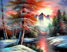 5D DIY Diamond Painting snow tree Cross Stitch  landscape diamond Embroidery rhinestones Christmas gift