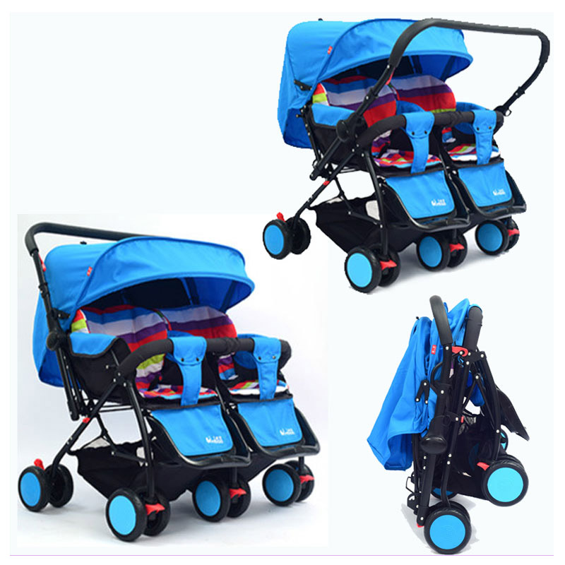 все цены на Twins Baby Stroller 2 In 1 Can Sit Lie Two-way Push Reverse Handle Kinderwagen Double Stroller for Twins Folding Umbrella Pram