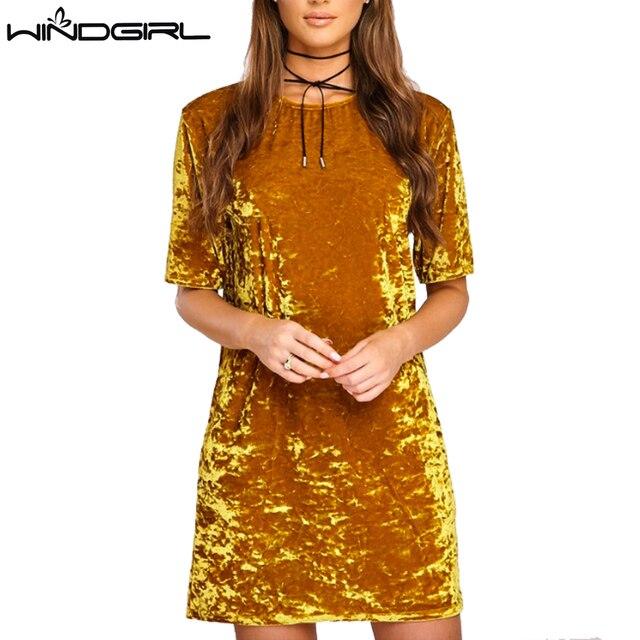 WINDGIR velvet dress женщины с коротким рукавом теплая весна осень dress женская мода повседневная dress халаты femmes vestido феста плюс размер