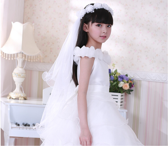 Champagne Organza Children Veil Flower Girl Dresses veils For Wedding Two-Layer Pencil Edge