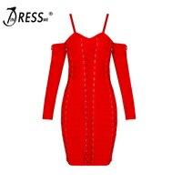 2016 New Autumn Sheath Knee Length Dress Long Sleeve Spaghetti Strap Women Bandage Dress