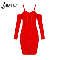 2016 New Autumn Sheath Knee Length Dress Long Sleeve Spaghetti Strap Women Bandage Dress