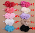 10PCs per Set 10Colors Baby Girls Shabby Lace Chiffon Flowers Headband Handmade Free Shipping