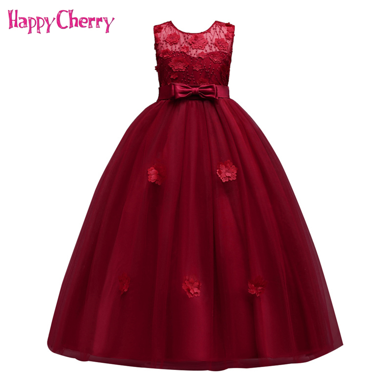 все цены на Children Sleeveless Gown Wedding Dress for Teenagers Girls 2018 Performance Dresses Princess Birthday Evening Party Outfits