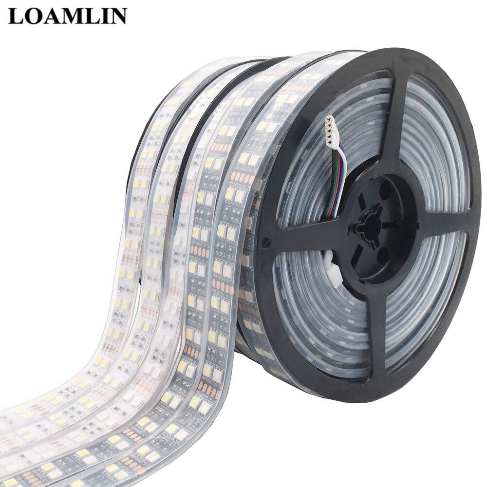 5050 Double Row RGB LED Strip Waterproof 120LEDs/m 5M  Black White PCB RGBW RGBWW LED Light  DC 12V 24V IP30/IP67
