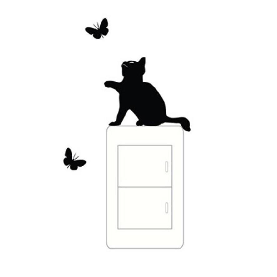 Lovely Cat Light Switch Phone Wall Stickers For Kids living Rooms Diy Home Decoration Cartoon Animals Wall Decals Pvc Mural Art