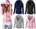 New 2017 Autumn Winter Tops Plus Size Causal Hoodies Women Coat Long-Sleeve Hooded Blue Black Pink Gray Slim Zipper Jacket Tops
