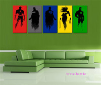 Justice League 5 Pieces Canvas Painting Print Living Room Home Decor Modern Wall Art Oil Painting