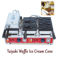 4pcs Fish Moulds Commercial Use Non Stick Electric Ice Cream Fish Taiyaki Maker Machine Baker