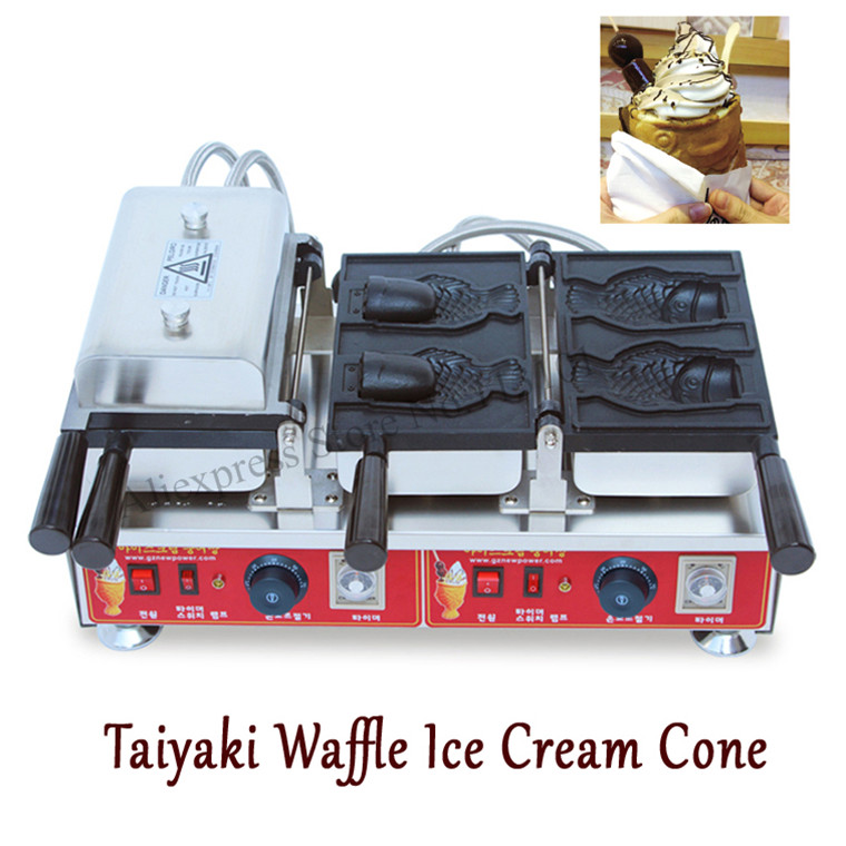 4pcs Fish Moulds Commercial Use Non-stick Electric Ice Cream Fish Taiyaki Maker Machine Baker commercial use non stick 110v 220v electric japanese tokoyaki octopus fish ball iron maker baker machine page 4