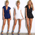 Celeb Moda Feminina SEXY V Chiffon Playsuit Jumpsuit & Romper Calças Beachwear