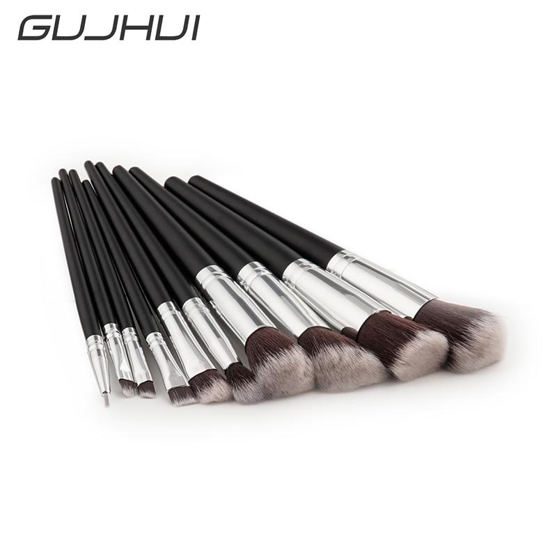 GUJHUI Brand 10Pcs Makeup Brushes Professional Cosmetic Brush Foundation Retro Black Bristle Make Up Brush Set The Best Quality new 32pcs makeup brushes professional cosmetic make up brush set the best quality