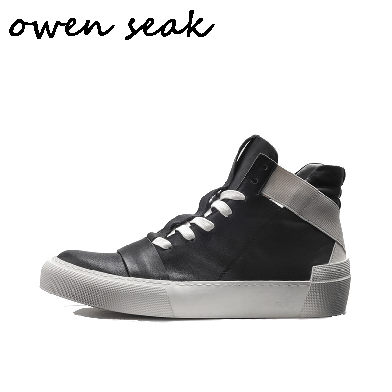 Owen Seak Men Boots High Ankle Luxury Trainers Genuine Leather Shoes Winter Boots Lace Up Casual